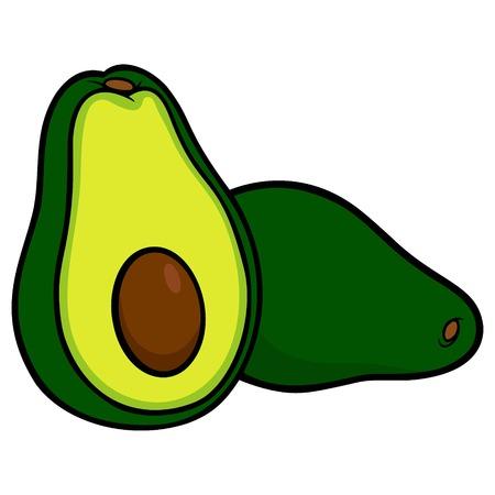 Avocados - A cartoon illustration of a freshly sliced Avocado.