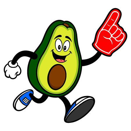 Avocado Mascot running with a Foam Hand - A cartoon illustration of a cute Avocado mascot.