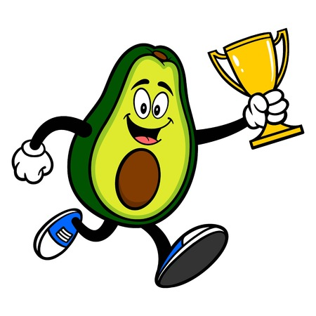 Avocado Mascot running with a Trophy - A cartoon illustration of a cute Avocado mascot.  イラスト・ベクター素材