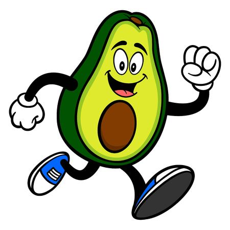 Avocado Mascot Running - A cartoon illustration of a cute Avocado mascot.