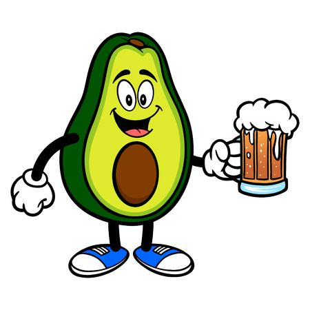 Avocado Mascot with a Beer - A cartoon illustration of a cute Avocado mascot.