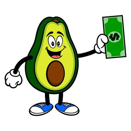 Avocado Mascot with a Dollar 写真素材 - 122787222