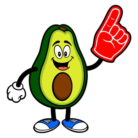 Avocado Mascot with a Foam Hand - A cartoon illustration of a cute Avocado mascot.  イラスト・ベクター素材