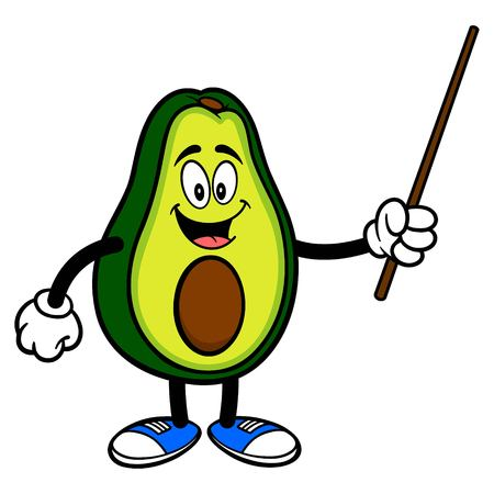 Avocado Mascot with Pointer Stick - A cartoon illustration of a cute Avocado mascot. 写真素材 - 122787224