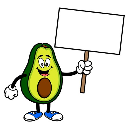 Avocado Mascot with a Sign - A cartoon illustration of a cute Avocado mascot.