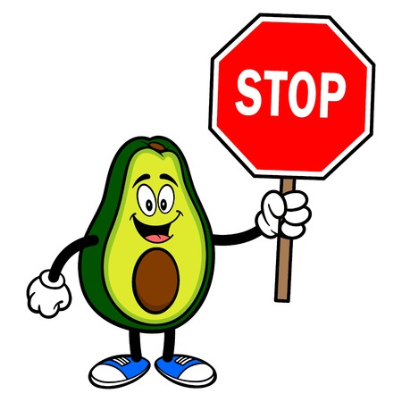 Avocado Mascot with a Stop Sign - A cartoon illustration of a cute Avocado mascot.