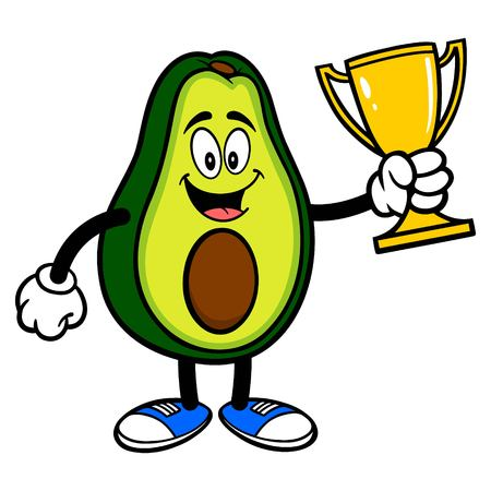 Avocado Mascot with a Trophy - A cartoon illustration of a cute Avocado mascot. 写真素材 - 122787228