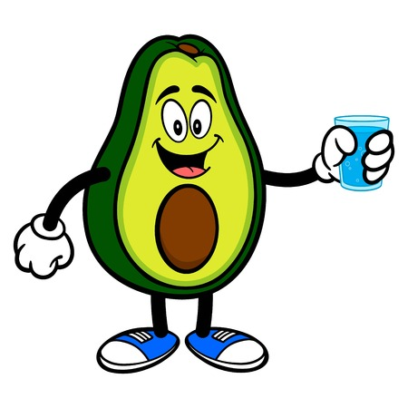 Avocado Mascot with glass of Water - A cartoon illustration of a cute Avocado mascot.  イラスト・ベクター素材
