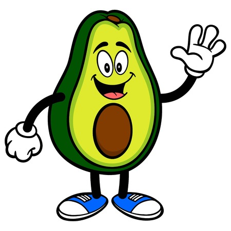 Avocado Mascot Waving - A cartoon illustration of a cute Avocado mascot. 写真素材 - 122787230