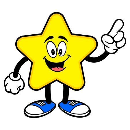 Star Mascot Pointing - A cartoon illustration of a cute Star mascot.  イラスト・ベクター素材