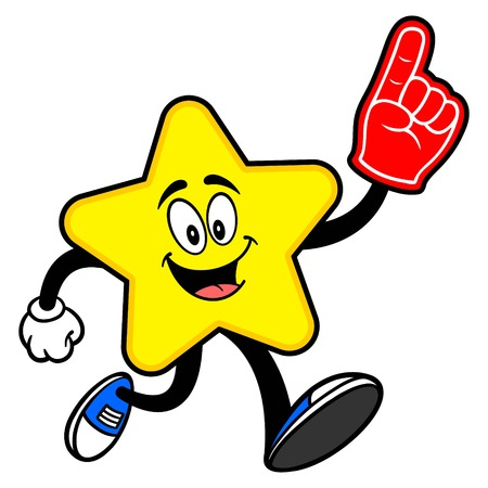 Star Mascot running with a Foam Hand - A cartoon illustration of a cute Star mascot.  イラスト・ベクター素材