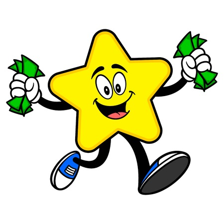 Star Mascot running with Money - A cartoon illustration of a cute Star mascot.