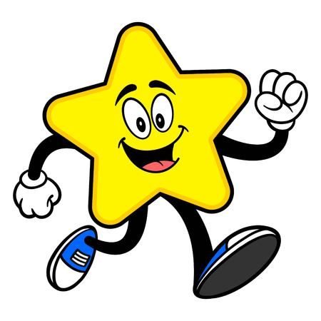 Star Mascot Running - A cartoon illustration of a cute Star mascot.