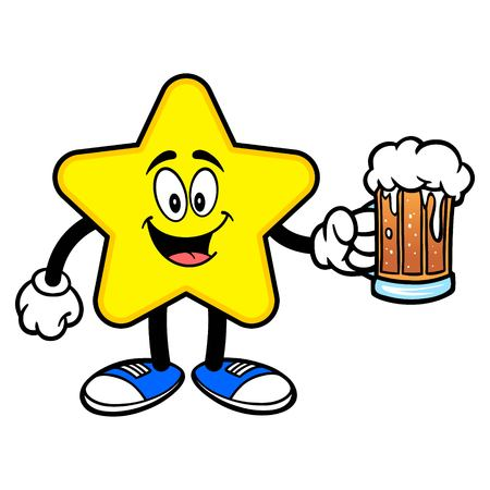Star Mascot with a Beer - A cartoon illustration of a cute Star mascot.  イラスト・ベクター素材