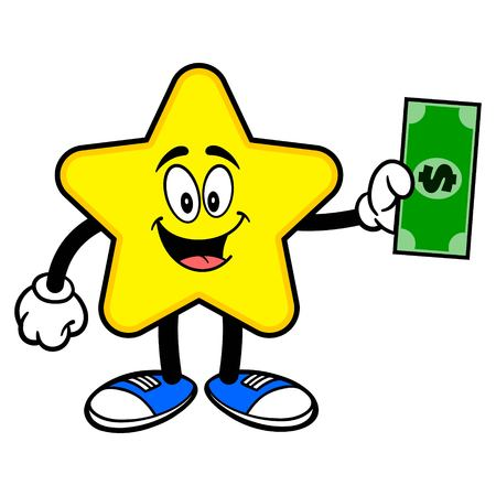 Star Mascot with a Dollar - A cartoon illustration of a cute Star mascot.