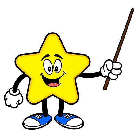 Star Mascot with a Pointer Stick - A cartoon illustration of a cute Star mascot.