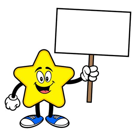 Star Mascot with a Sign - A cartoon illustration of a cute Star mascot.  イラスト・ベクター素材
