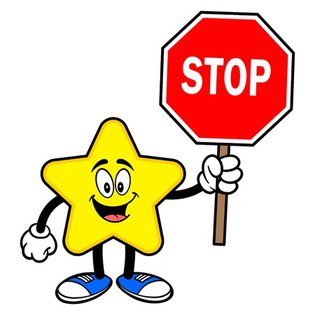 Star Mascot with a Stop Sign - A cartoon illustration of a cute Star mascot.