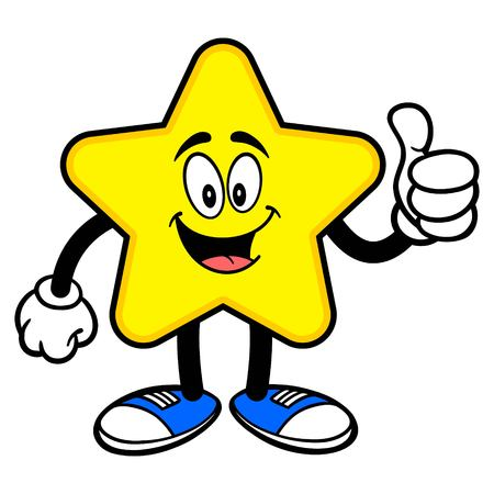Star Mascot with Thumbs Up - A cartoon illustration of a cute Star mascot.