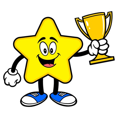 Star Mascot with a Trophy - A cartoon illustration of a cute Star mascot.  イラスト・ベクター素材