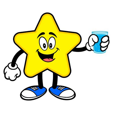 Star Mascot with a glass of Water - A cartoon illustration of a cute Star mascot.  イラスト・ベクター素材