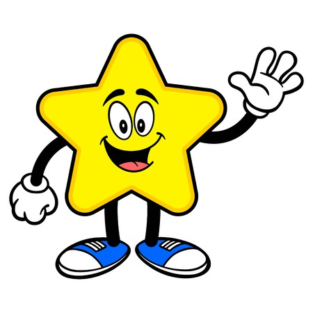 Star Mascot Waving - A cartoon illustration of a cute Star mascot.