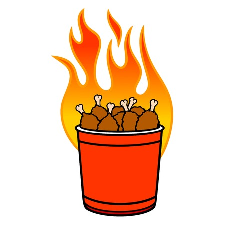 Bucket of Hot Wings - A cartoon illustration of a flaming bucket of Hot Wings. 写真素材 - 122787249