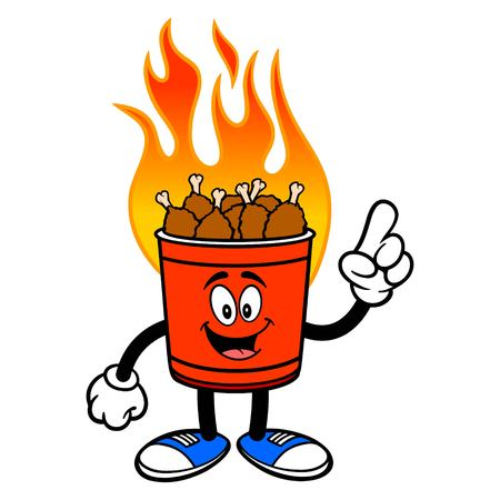 Hot Wing Bucket Mascot Pointing - A cartoon illustration of a flaming Hot Wing Bucket Mascot.  イラスト・ベクター素材
