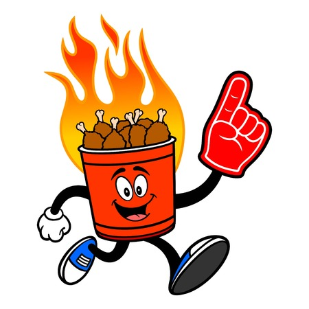 Hot Wing Bucket Mascot running with Foam Hand - A cartoon illustration of a flaming Hot Wing Bucket Mascot. Illustration