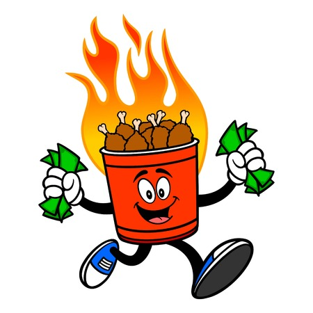 Hot Wing Bucket Mascot Running with Money - A cartoon illustration of a flaming Hot Wing Bucket Mascot. 写真素材 - 122787252