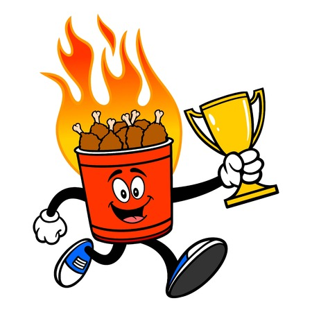 Hot Wing Bucket Mascot Running with Trophy - A cartoon illustration of a flaming Hot Wing Bucket Mascot.