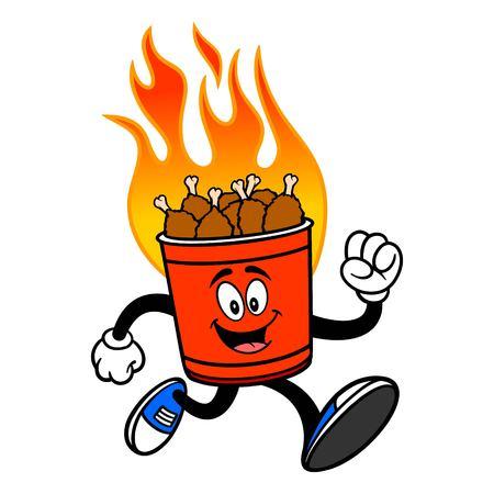 Hot Wing Bucket Mascot Running - A cartoon illustration of a flaming Hot Wing Bucket Mascot.