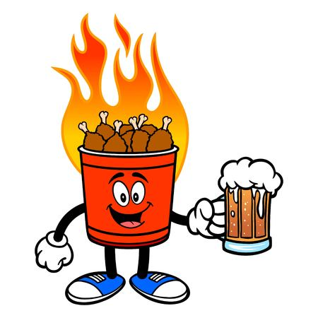 Hot Wing Bucket Mascot with Beer - A cartoon illustration of a flaming Hot Wing Bucket Mascot. Ilustração