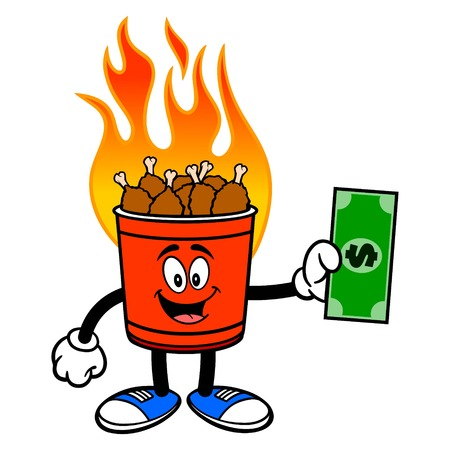 Hot Wing Bucket Mascot with Dollar - A cartoon illustration of a flaming Hot Wing Bucket Mascot. Ilustração