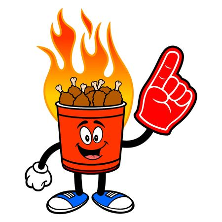 Hot Wing Bucket Mascot with Foam Hand - A cartoon illustration of a flaming Hot Wing Bucket Mascot.