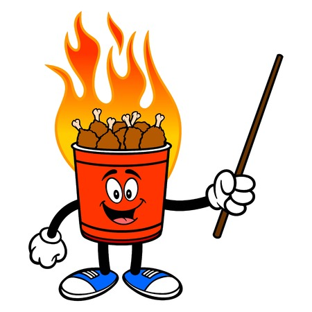 Hot Wing Bucket Mascot with Pointer - A cartoon illustration of a flaming Hot Wing Bucket Mascot.