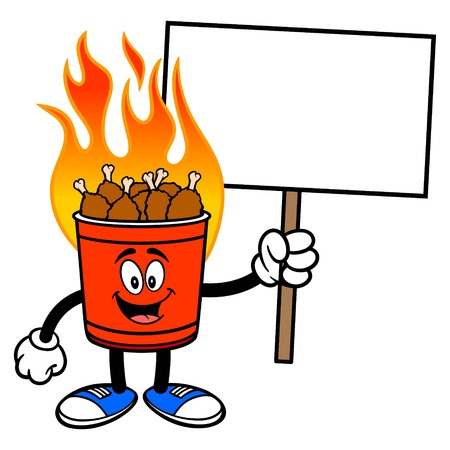 Hot Wing Bucket Mascot with Sign - A cartoon illustration of a flaming Hot Wing Bucket Mascot.
