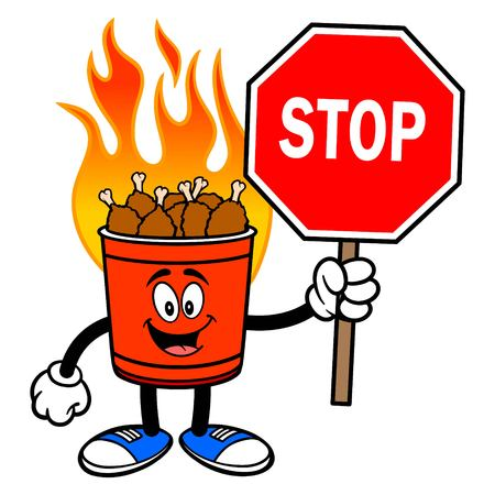 Hot Wing Bucket Mascot with Stop Sign - A cartoon illustration of a flaming Hot Wing Bucket Mascot.