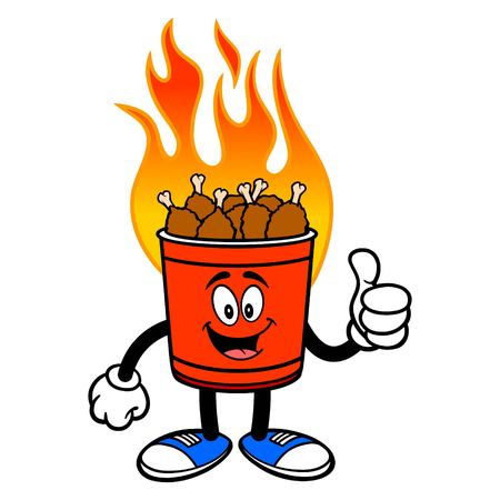 Hot Wing Bucket Mascot with Thumbs Up - A cartoon illustration of a flaming Hot Wing Bucket Mascot. Ilustração