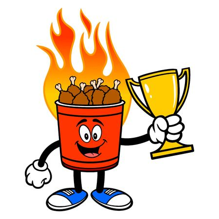 Hot Wing Bucket Mascot with Trophy - A cartoon illustration of a flaming Hot Wing Bucket Mascot. Ilustração