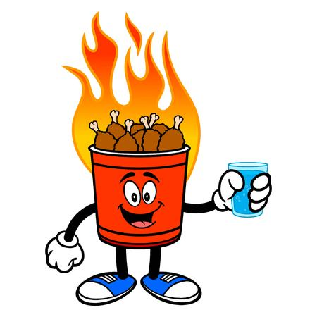 Hot Wing Bucket Mascot with a glass of Water - A cartoon illustration of a flaming Hot Wing Bucket Mascot.
