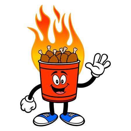 Hot Wing Bucket Mascot Waving - A cartoon illustration of a flaming Hot Wing Bucket Mascot.  イラスト・ベクター素材