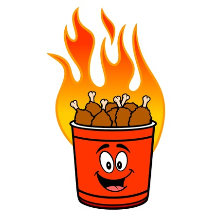 Hot Wing Bucket Mascot - A cartoon illustration of a flaming Hot Wing Bucket Mascot.  イラスト・ベクター素材