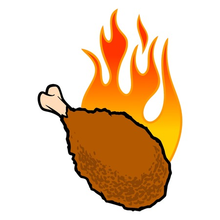 Hot Wings Icon - A cartoon illustration of a flaming Buffalo Wing Icon.  イラスト・ベクター素材