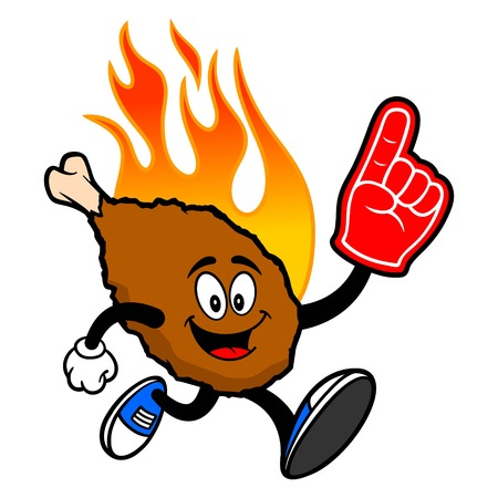 Hot Wing Mascot running with Foam Hand - A cartoon illustration of a flaming Buffalo Wing Mascot.