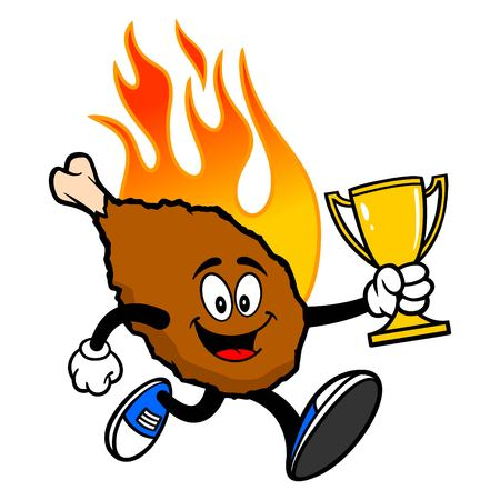 Hot Wing Mascot Running with Trophy - A cartoon illustration of a flaming Buffalo Wing Mascot.