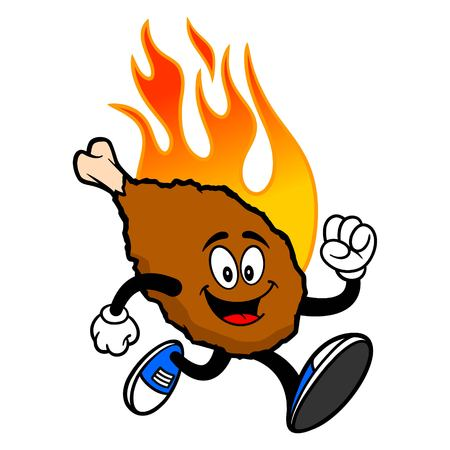 Hot Wing Mascot Running - A cartoon illustration of a flaming Buffalo Wing Mascot.