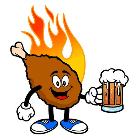 Hot Wing Mascot with Beer - A cartoon illustration of a flaming Buffalo Wing Mascot.