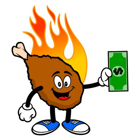 Hot Wing Mascot with Dollar - A cartoon illustration of a flaming Buffalo Wing Mascot.  イラスト・ベクター素材