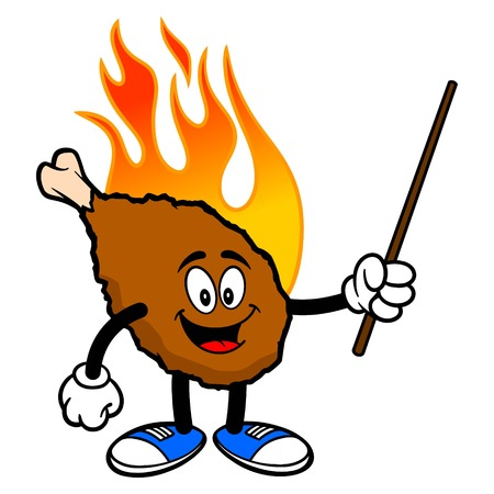 Hot Wing Mascot with Pointer - A cartoon illustration of a flaming Buffalo Wing Mascot.